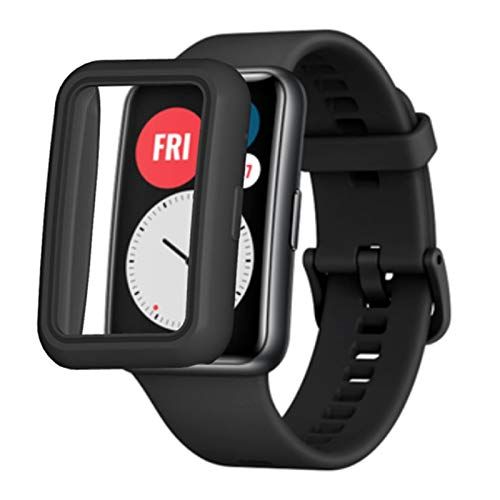 Banane 2 Pack Smart Watch Schutzhülle Hülle Kompatibel Mit Für Hu awei Watch FIT Smartwatch,Weiche TPU-Schutzhülle Stoßfeste Gehäuse Cover Für Hu awei Watch Fit, Transparent, Schwarz