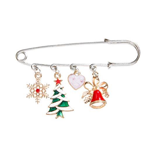 WXXW Christmas Brooches Of Various Shapes Exquisitely Handmade Gifts Accessories, Spilla di Natale Pin di Neve Set con Decorazioni Natalizie in Cristallo,Regali di Natale (A)
