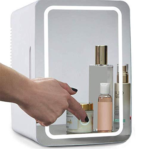 JIAODIE Mini Maquillage Réfrigérateur 8 litres, Portable Cosmétique Réfrigérateur, Panneau De Verre LED, Cooler Warmer Congélateur, pour Les Soins De La Peau Beauté Dortoirs Accueil Voiture