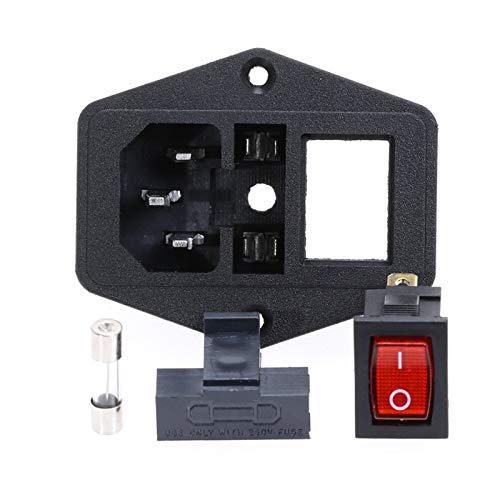 HGLNBN Interruptor basculante Interruptor 5pcs 10A 250V Entrada del módulo Plug Rocker Male zócalo de energía de 3 Pin Interruptor + Fusible (Color : Red)