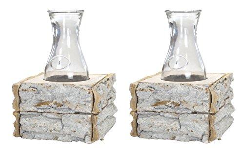 Decoline Glas-Vasen im Holz-Rahmen 2 Stück