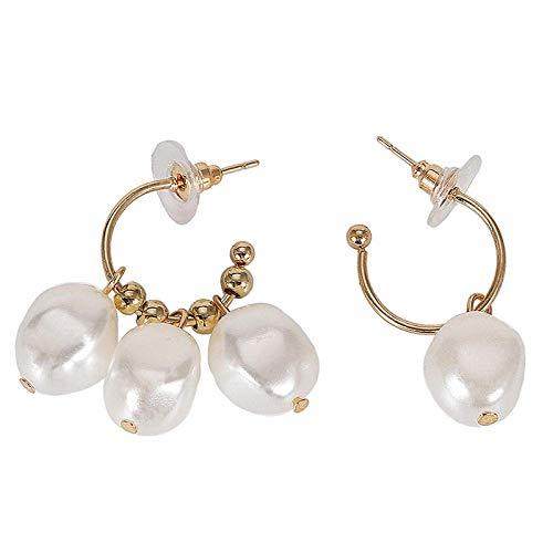 JIAJBG Pendientes Hechos a Mano Pendientes de Gota Pendientes Asimétricos Pendientes de Perlas Imitadas Retro/A