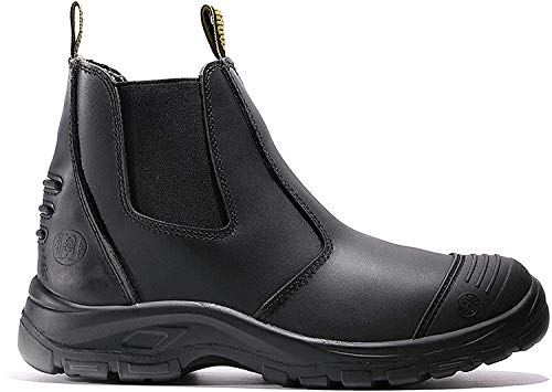 diig Work Boots for Men, Steel Toe Waterproof Working Boots, Slip Resistant Anti-Static Slip-on Safety EH Working Shoes 6 8 9 10 11 12 13 (LV812, 9.5-BLK)