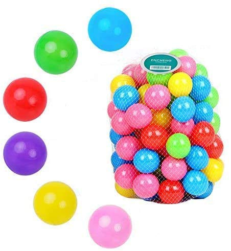 Encheng Pack of 100 Ball Pit Balls Crush Proof Plastic Ball, Pit Balls ,Kids Ball Pit Small Pop Up Toddler Ball Pits,for Toddlers Girls Boys for Indoor Outdoor,Bright Colors,Phthalate Free BPA Free …