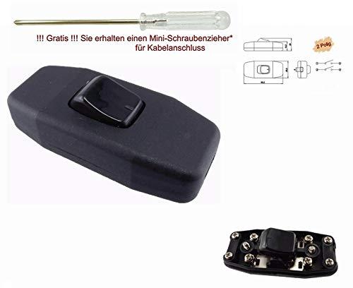 MixWare-MegaShop Schnur-Zwischenschalter schwarz mit zugentlastungen, 2-polig, 6A 250V, Paßt für LED, SMD (Schwarz)