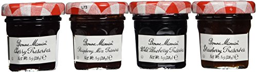 Bonne Maman Mixed (Strawberry, Cherry, Raspberry & Blueberry) Preserve Mini Jars - 1 oz x 60 pcs (4 - 15 Packs) Kosher