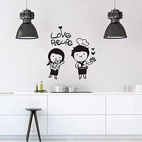 Vinilo Adhesivo De Pared Love Cook Love Recipe Vinilo Decorativo Para Pared Cocina 57X61Cm