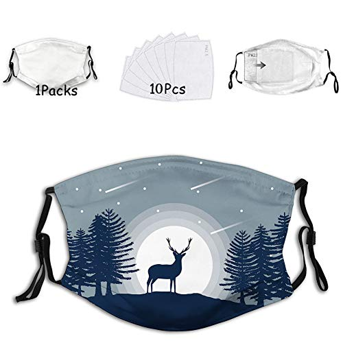 1mask with 10filters Face Mask,Washable Cloth,Face Cover,Cover for Dust Adult Reindeer Silhouette at Night in Forest Illustration