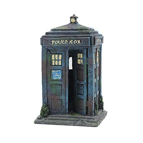 Aquarium Fish Tank Ornament Police Box Telephone Decorations for Fish and Shrimp to Cave Hideouts for Hiding Police One Size