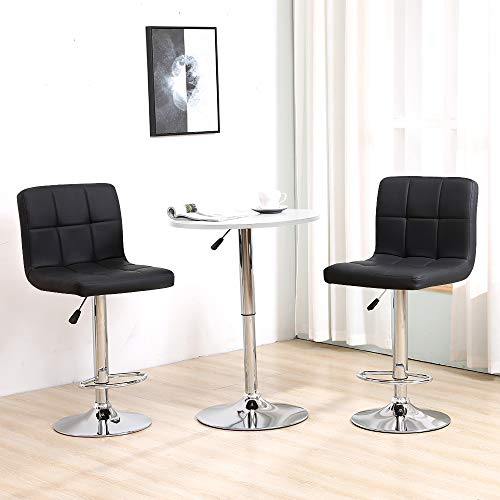 BonChoice Adjustable Bar Table Set, Round Bar Table with 2 Black Bar Stools for Breakfast Pub Counter Kitchen, PU Leather Barstool Chairs with Footrest Swivel Bistro Set