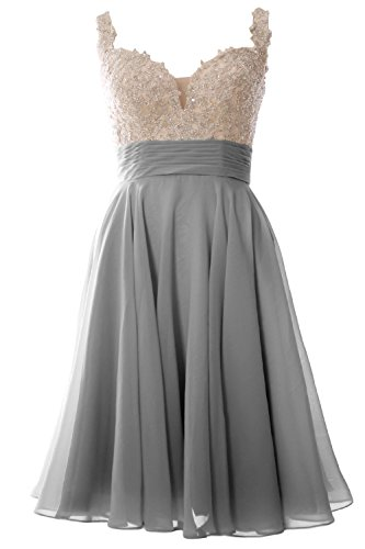 MACloth Women Straps Wedding Party Formal Gown Short Lace Prom Homecoming Dress (32, Gray)