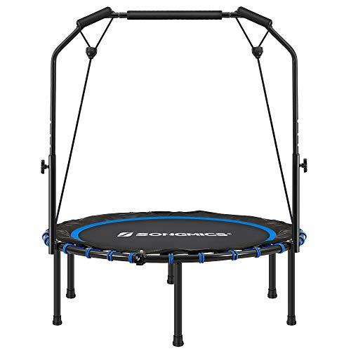 SONGMICS Mini trampolín Fitness de 102 cm, Cama elástica con Barra Ajustable, Trampolín de Ejercicio para el Entrenamiento en casa, Máx. Carga 120 kg, Azul y Negro STR040Q01