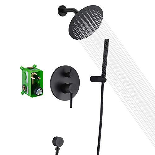 Black Shower Fixtures, Matte Black Shower Faucet Set, Black Shower System with Rain Shower and Handheld,Sumerain