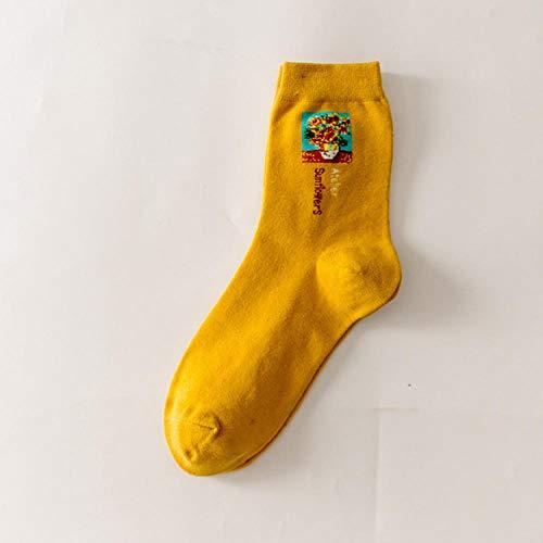 ROUNDER 3 Paar Socken weibliche Cartoon berühmte Malerei Damen Medium Tube Baumwollsocken Winter Sport und Freizeit Einheitsgröße-Gelb
