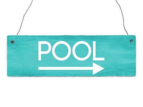 Interluxe Shabby Vintage Schild Türschild Pool RECHTS Türschild Deko Wellness Wegweiser