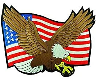 Flying Bold Eagle with American Flag 10 inches Patch