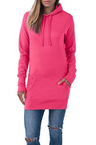 Mivaro Langer Damen Pullover, Long-Pullover mit Kapuze, Long-Hoodie, Größe:L, Farbe:Pink
