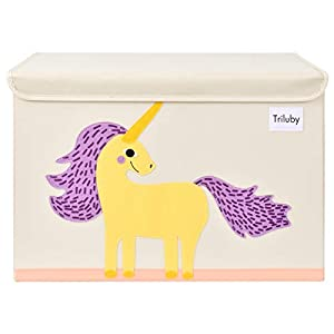 Triluby Foldable Animal Large Toy Chest with Flip-Top Lid, Collapsible Fabric Kids Toy Storage Organizer/Bin/Basket/Box/Trunk for Children, Toddler and Baby Nursery Room (Unicorn)