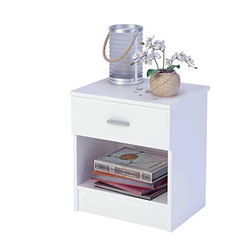 Mesita de noche de melamina con cajón (varios colores) de 44 cm de ancho, Samblo Nami, color blanco, madera contrachapada
