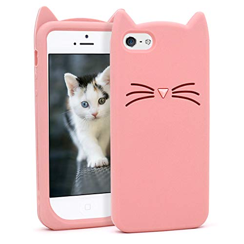 Yonocosta for iPhone 5 Case, iPhone 5S Case, iPhone SE Case, Fashion Cute 3D Cartoon Whisker Cat Kitty Soft Silicone Gel Rubber Bumper Case Cover for iPhone 5 / 5S / 5C / SE (Whisker Cat Pink)