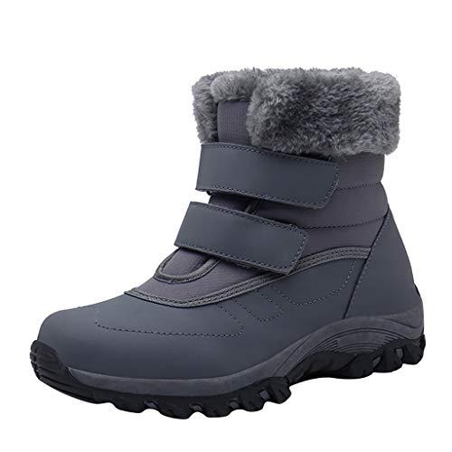 Xuthuly Frauen Winter Outdoor Warmhalten Plüsch Schneeschuhe Damen Casual Einfarbig Stiefeletten Kurze Bequeme Flache wasserdichte Baumwollschuhe