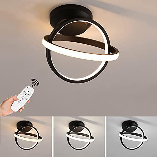 Lámpara LED de techo para salón, regulable, 29 W, 3000 K-6500 K, acrílico, lámpara de techo moderna, de diseño, para comedor, dormitorio, cocina, pasillo (negro), diámetro de 18 cm