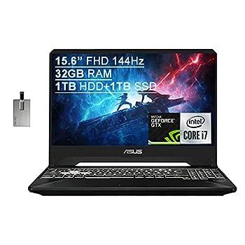 "2021 Asus TUF Gaming FX505 15.6"" FHD 144Hz Laptop Computer 9th Gen Intel Core i7-9750H 32GB RAM 1TB HDD+ 1TB SSD Backlit KB HD Webcam GeForce GTX 1650 GPU Win 10 Black 32GB SnowBell USB Card"