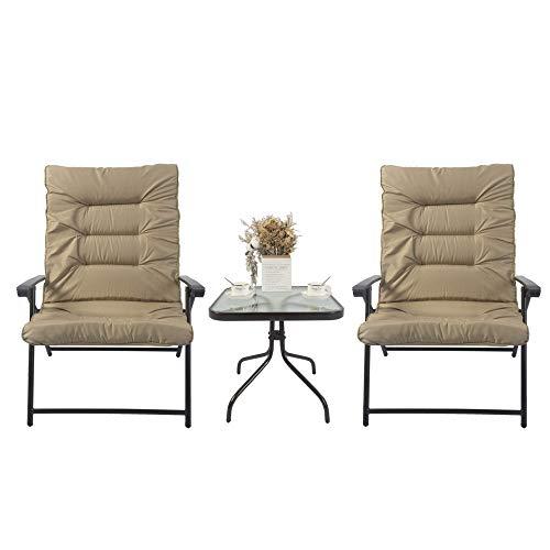 Kozyard Elsa 3 Pieces Outdoor Patio Furniture Padded Folding Bistro-Sets for Yard, Patio, Deck or Backyard(Beige)
