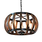 Anmytek Pumpkin Round Pendant Light Vintage Rustic Wood Frame Lamp Adjustable Chain Chandelier E26...