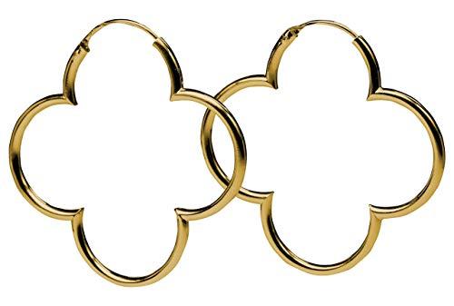 SILBERMOOS Damen Creolen vergoldet Blumen Kleeblatt glänzend 925 Sterling Silber Ohrringe