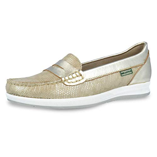Zapato Mujer Tipo mocasín Marca PITILLOS, en Piel laminada Color Oro, Altura 2,3cm - 3933-944