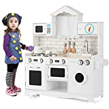 HONEY JOY Play Kitchen for Toddlers, Wooden Rooftop...