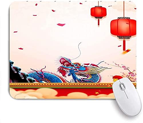 Alfombrilla de ratón para juegos, estilo étnico de linterna roja de dragón chino, alfombrilla de ratón con base de goma antideslizante para ordenadores portátiles Alfombrillas de ratón de 25 cm x 20 c
