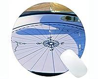 滑り止めのコンパスの円形のマウスパッドの滑り止め、ステッチされた端が付いている魔法のコンパスの海洋の円形のマウスパッド