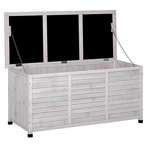 Outsunny Baúl de Madera Exterior Caja de Almacenamiento de Jardín con Tapa Abrible y Diseño Persiana 127x56x60 cm Blanco