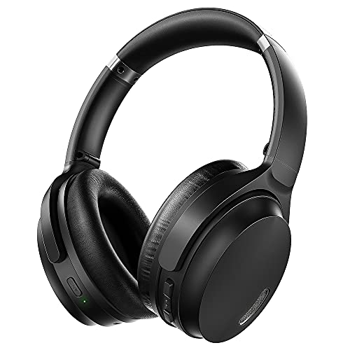 Active Noise Cancelling Headphones, HROEENOI JZ02 Bluetooth Headphones, Wireless Over Ear Headphones with CVC 8.0 Microphone Deep Bass Headset, 40 Hours Playtime for Travel Work TV Phone - Black