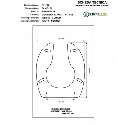 ACB/COLBAM Copriwater in Legno Rivestito di Poliestere per 04 KEL01 - KELA Sanitosco Bianco con Cerniera Cromo