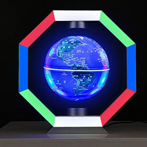 Anti Schwerkraft schwebende Magnetschwebebahn Schwimmende Globus Weltkarte mit bunten LED-Licht für Schreibtisch Dekoration, Kinder Geschenke,Polygon