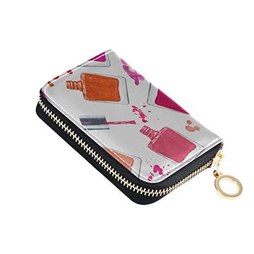 Kartenhalter Bunter Nagellack Leder Kartenhalter Pu Leder Zip-Around Kompakte Größe Brieftasche Kartenhalter Für Männer Für Frauen Damen Mädchen Minimalist Akkordeon Brieftasche