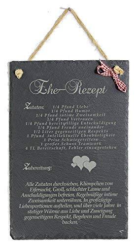 Feiner-Tropfen Schiefertafel für Hochzeit Gravur Ehe Rezept Geldgeschenk XXL