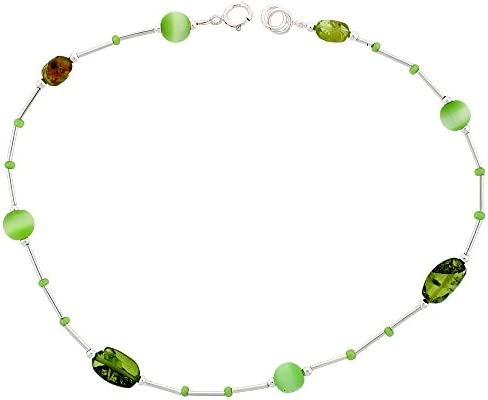 Sterling Silver Anklet Natural Peridot Stone Nuggets Green Cateye Beads Adjustable 9 10 inch product image