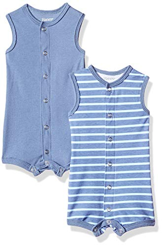 Hanes Ultimate Baby Flexy 2 Pack Sleeveless Rompers, Dark Blue Stripe