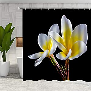 DMTTY Fabric Floral Shower Curtain White Calla Lily Spring Flower Bathroom Curtain 72×72 Inches Fabric Bathroom Accessories Polyester with Hooks
