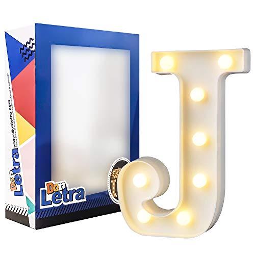 DON LETRA Letras Decorativas con 8 Bombillas de LED, Letras A-Z, 2 Pilas AA, Interruptor, Plástico, Altura de 22cm, Color Blanco - Letra J