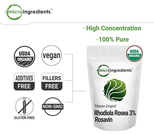 Pure Organic Rhodiola Rosea Powder, 50 Grams, Strongly Supports Energy Production, Focus and Attention, No GMOs and Vegan Friendly.
