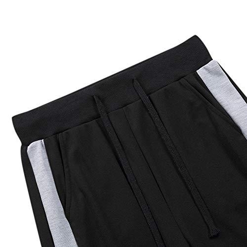 MISSKY Men Contrast Colour Fashion Fat Fit Plus Size Trousers (Black, XX-Large)