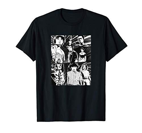 Stranger Things Group Shot Comic Strip Stare Down Camiseta