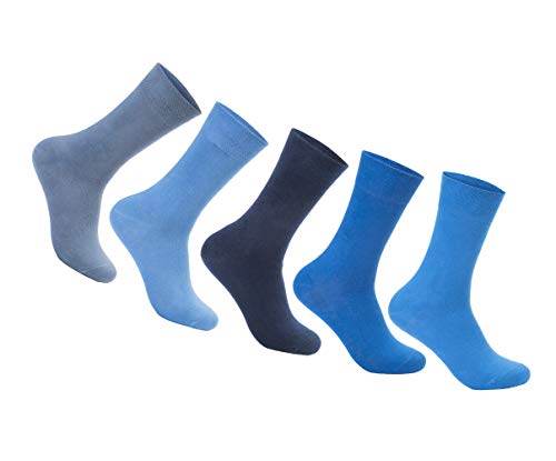 FOOTNOTE Herrensocken Damensocken Socken Herren Damen Blau Größe 43-46 Gr. 43 44 45 46 Baumwollsocken Socks Business Männer Frauen Strümpfe Classic Herrenstrümpfe Damenstrümpfe Anzugsocken 5 Paar