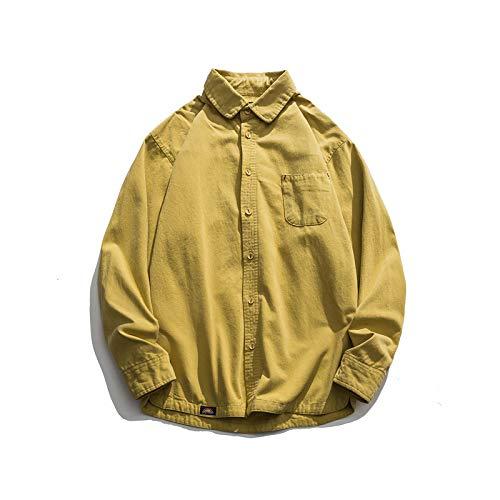 Camisa de Vestir Ajustada a la Moda para Hombres, Camisa Informal de Manga Larga con Botones, Camisa Suelta de versión Regular de Tendencia de Color sólido de otoño M