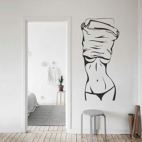 Etiqueta engomada de la pared del vinilo de la muchacha atractiva etiqueta engomada de la pared del mural de la mujer atractiva de la moda mural de la belleza de la tienda de ropa A6 22x42xm